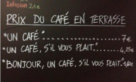The menu outside the Petite Syrah in Nice.  Photograph: NiceMatin Resistance via Twitter