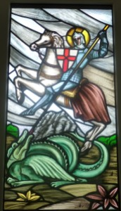 Sant Jordi depicted on a stained glass window
